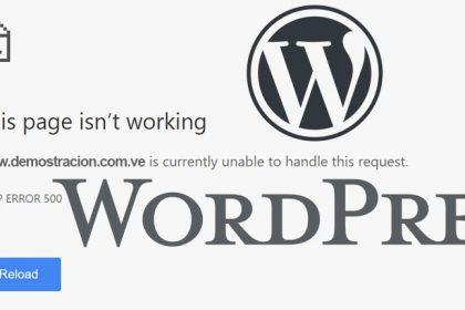 Arreglar erro 500 en WordPress