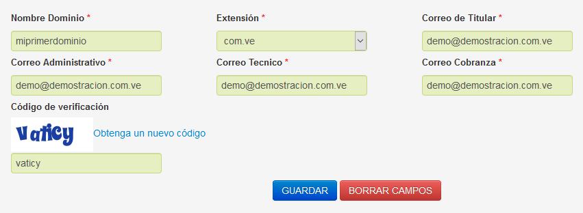 Registrar Dominio Venezuela